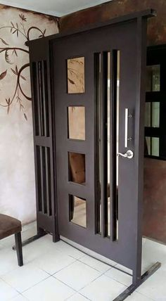 Main door design entrance wrought iron 47 ideas for 2019 Main Gate Design, Door Gate Design, Wooden Door Design, Wooden Doors, Wrought Iron Security Doors, Wrought Iron Doors, Internal Doors Modern, Aluminium Glass Door, Grill Door Design