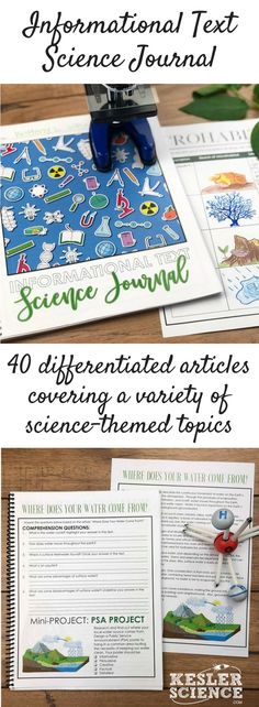 Informational Text Science Journal includes 40 articles covering a wide variety of science-themed topics. Two differentiated versions of each article are included, appropriate for middle school science students grades 8th Grade Science, Science Student, Middle School Science, Elementary Science, Science Classroom, Teaching Science, Science Education, Science For Kids, Preschool Science