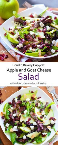 One of my favorite salad of all time!! Now, you can making it at home! Crisp Apple and Goat Cheese Salad White Balsamic and Herb Dressing - Boudin Bakery Copycat