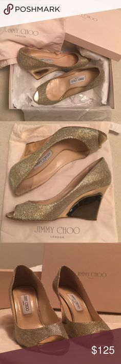 """Jimmy Choo gold glitter wedge heels - Size 38.5 Beautiful, authentic Jimmy Choo 'Baxen' peep toe wedge heels in glitter gold, slight signs of wear as shown in photos; mirrored heel is approx. 3.5"""". Glitter fabric upper, leather lining and sole, made in Italy. Original box and dust bag included. Jimmy Choo Shoes Wedges"""
