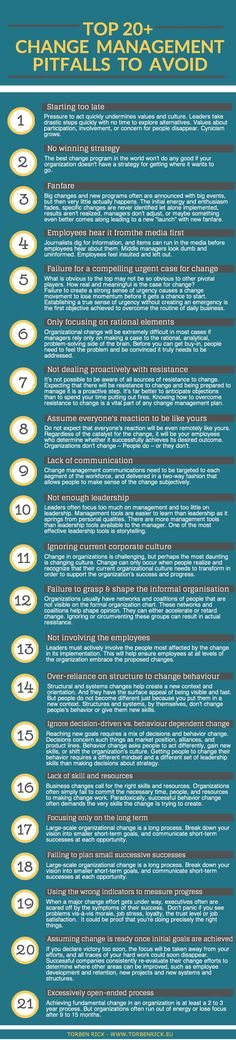 Infographic: Top 20+ organizational change management pitfalls #changemanagement