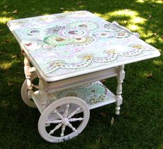 Tea in the garden.  A cart to serve.