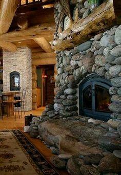 Log Home - Stone Fireplace