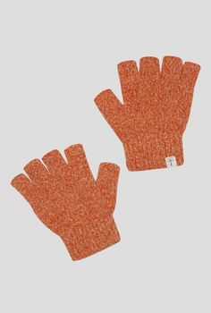 Borlotti Fingerless Gloves | Fingerless gloves in a marl style lambswool knit. In soft orange colour with rib knit cuff. Perfect for keeping your hands warm but having your fingers free, for gardening, texting or fishing.