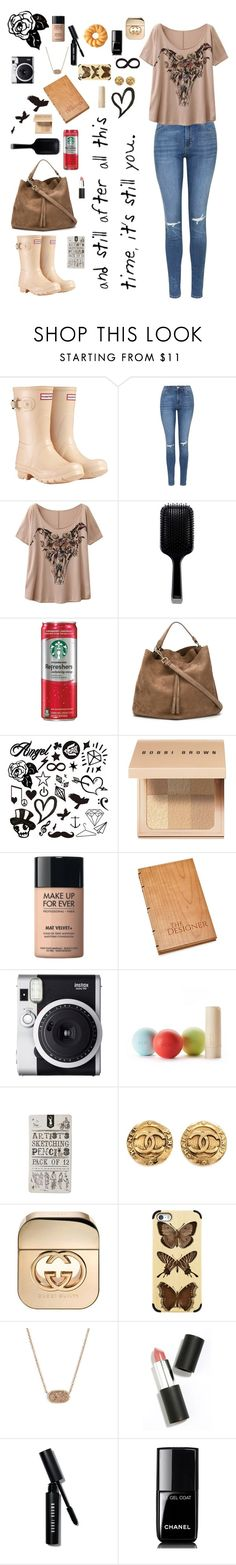 """Morning Sketching"" by mad4sewing ❤ liked on Polyvore featuring Hunter, Topshop, WithChic, GHD, Maison Margiela, Bobbi Brown Cosmetics, MAKE UP FOR EVER, Fuji, Eos and Chanel"