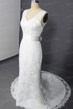 Two Straps Deep vneck back Sain Sash French lace by Bigday1958, $278.00