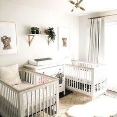Small Twin Nursery, Twin Nursery Gender Neutral, Nursery Twins, Baby Boy Nurseries, Nursery Room, Nursery Ideas, Nursery Decor, Twin Baby Beds, Twin Baby Rooms