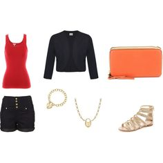 A cute summery outfit ... High waist shorts with a tank tucked in, a navy bolero jacket, a coral clutch for a bit of color, gladiator sandals, Tiffany jewelry ..... Perfect!