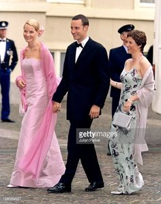 Crown Prince Haakon, Crown Princess Mette-Marit & Princess Martha Louise Of Norway Attend A Gala Dinner At Noordeinde Palace, On The Eve Of The Wedding Of Prince Constantijn & Princess Laurentien Of Holland. . May 2001