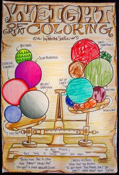 weight of great coloring by tabitha seaton - the art of coloring (poster made by teacher; make something similar showing characteristics of good coloring)