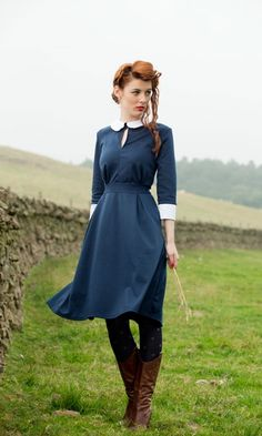 Tartans and Tweeds | Hopkirk, navy blue 3/4 sleeve modest dress with keyhole neck and white peter pan collar.