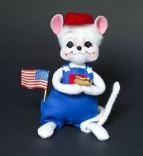 Annalee Mobilitee Doll 4th of July Patriotic Picnic Boy Mouse 6""