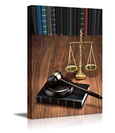 Canvas Prints Wall Art  Wooden Gavel on Book with Golden Scale on Table Justice Concept  Modern Wall Decor Home Decoration Stretched Gallery Canvas Wrap Giclee Print  Ready to Hang  36 x 24 >>> Read more reviews of the product by visiting the link on the image.Note:It is affiliate link to Amazon. #commenter