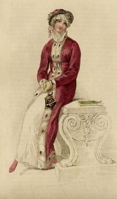 This fashion plate from January 1813 features a morning walking dress and pelisse trimmed with luxurious ermine.