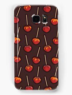 Caramelized Apples Samsung Galaxy Case by Anastasia Shemetova #faerieshop #caramel #dessert #fruit #apple #chocolate #autumn #fall #treat #halloween #vector #flat  #sparkle #sweet #topping #sugar #pattern #outline #food #sale #redbubble #skin #phone #cool
