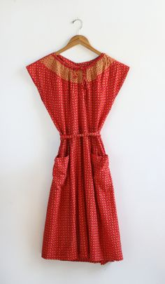 Vintage Red Apron Dress - Everything Golden