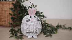 rattan rabbit Rattan Basket, Easter Crafts, Rabbit, Christmas Ornaments, Holiday Decor, Design, Home Decor, Trays, Crates