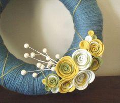 pale blues and yellows yarn wreath #yarn #wreath #berries
