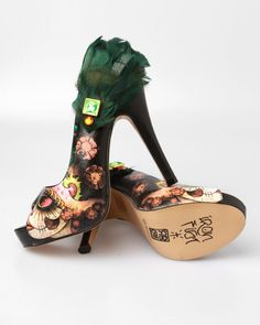 Iron Fist Vanity Fair Sugar Skull Peacock Feather Platform Heels- koko EU38/ UK5/ US7