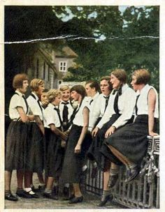 The League of German Girls or League of German Maidens, was the girl's wing of the overall Nazi party youth movement, the Hitler Youth. It was the only female youth organization in Nazi Germany. Initially the League consisted of two sections: the Jungmädel,  for girls ages 10 to 14, and the League proper for girls ages 14 to 18.