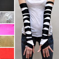 TRIXY XCHANGE - Black Striped Gloves Matrix Gloves Cyber Goth Gloves Mummy Gloves Ripped Gloves Slashed Gloves Steampunk Gloves Arm Warmers. $29.00, via Etsy.