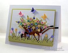 Wheelbarrow, Tiny Flowers, Tiny Tulips, Grass Border, Butterfly Set