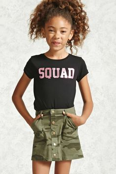 Forever 21 Girls - A woven skirt featuring an allover camo print, a button-down design, slanted front patch pockets, and belt loops. Kids Fashion Boy, Tween Fashion, Girl Fashion, Fashion Outfits, School Fashion, Fashion Clothes, Fashion Trends, Fashion Games, Kids Outfits Girls