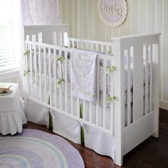 Delight your little girl's nursery with New Arrivals Inc's Sweet Violet Baby Bedding Set! Featuring an elegant damask pattern in serene lilac with soft green accents, this girl's baby bedding is both youthful and sophisticated Baby Girl Nursery Bedding, Girls Bedding Sets, Crib Bedding Sets, Nursery Room, Calming Nursery, Girl Cribs, Baby Cribs, Girl Nurseries, Baby Crib Sets