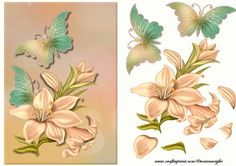 Nature is beautiful on Craftsuprint designed by Marijke Kok - Beautiful lillies and butterfly for a gorgeous card, also for sympathy... - Now available for download!