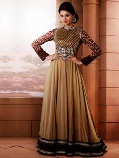 Beige Georgette Anarkali Suit With Embroidery Work www.saree.com