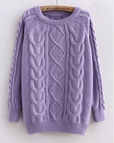 Cabled Sweater in Purple