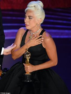 Lady Gaga Photos - Lady Gaga accepts the Music (Original Song) award for 'Shallow' from 'A Star Is Born' onstage during the Annual Academy Awards at Dolby Theatre on February 2019 in Hollywood, California. - Annual Academy Awards - Show French Twist Updo, French Twists, Lady Gaga Pictures, Oscar Dresses, Jennifer Hudson, Oscar Winners, A Star Is Born, Best Actress, Music Awards