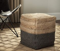 Signature Design By Ashley Sweed Valley Natural & Black Pouf - Big Lots