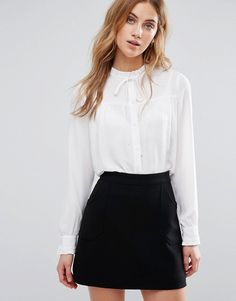 New Look High Neck Smock Shirt in white at Asos