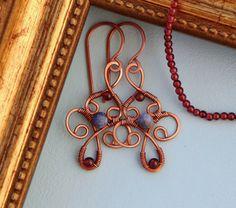copper earrings, garnet earrings, sodalite earrings, copper wire jewelry, garnet jewelry, sodalite jewelry, oriental earrings, oriental jewelry, wirewrapped, wire work, copper jewellery, ornamental earrings, copper wire earrings