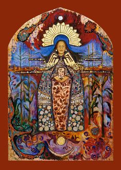 La Conquistadora with the Dine Spider Woman and Puebloan Corn Maiden is the result of my efforts to visually and aesthetically blend the Marian figure of Mary with the Native American images of the sacred feminine. This retablo is huge and heavy.  Over 5' tall and 175 lbs.  I painted her with oils, antique ceramic mosaic, gold leaf, copper leaf and sterling silver leaf. See more about her on my Etsy shop