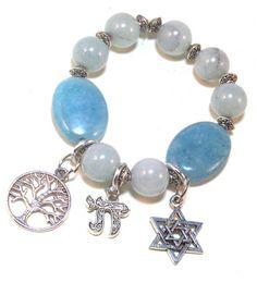 Judaica Jewish Charm Bracelet is a beaded bracelet with Jewish charms.  By Linda B. on Etsy