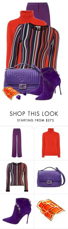 """Violet Flared Trousers"" by jakenpink ❤ liked on Polyvore featuring La Perla, Etro, Torn by Ronny Kobo, Chanel, Sergio Rossi and Pierre Hardy"