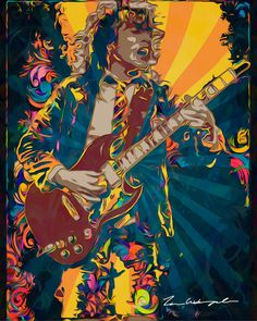 Angus Young Pop Art. I am trying to recreate the emotion, excitement and feeling one would feel at the concert. Printed on high quality