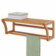 Buy Neu Home Lohas Bamboo Wall Mounted Shelf with Towel Bar from Bed Bath & Beyond Bathroom Wood Shelves, Shower Shelves, Bathroom Furniture, Home Furniture, Bar Shelves, Wall Mounted Shelves, Shelving, Bamboo Shelf, Bamboo Wall