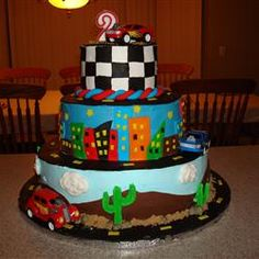Race Car Cake, I made this Cake for my son Johnny's 2nd Birthday.