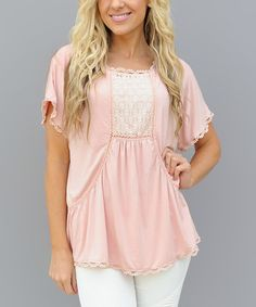 Look what I found on #zulily! Pink Lace Nix Scoop Neck Top #zulilyfinds