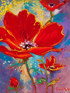 Red flower painting with cool-colored background includig teal, lime green and purples Poppy Flower Painting, Oil Painting Flowers, Flower Art, Cherry Blossom Watercolor, Watercolor Flowers, Watercolor Paintings, Oil Painting App, Abstract Flowers, Fine Art Gallery