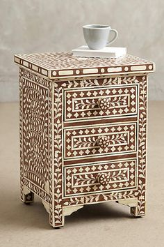 Make this beautiful piece a unique and treasured feature in your home. Zohi Interior's Inlay Homewares are crafted by artisans and priced to please. Buy your Bone Inlay Large 3 Drawer Bedside Chest today! Unique Furniture, Painted Furniture, Home Furniture, Furniture Design, Furniture Board, Funky Furniture, Jewelry Armoire, Wood Veneer, Decoration