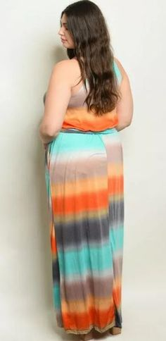 Women's Plus Size Rainbow Pocketed Belted Maxi Dress
