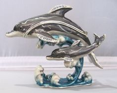 New Trinket Box Gift Painted Crystals Two Dolphins Animal Necklace