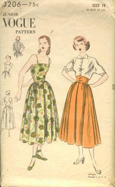 Vogue 3206 circa 1948 dress & bolero
