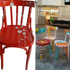 Come dipingere una sedia - How to paint a chair Old Chairs, Dining Chairs, Muebles Shabby Chic, Whimsical Painted Furniture, Love Painting, Bunt, Decoupage, Diy, Inspiration