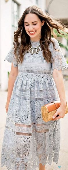 Going traditional is all the creativity you need. With Your Ingenuity Crochet Dress in Grey featured Passion For Fashion, Love Fashion, Pretty Dresses, Beautiful Dresses, Casual Dresses, Summer Dresses, Lace Midi Dress, Dress Me Up, Beyonce
