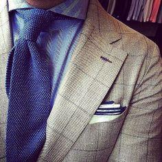 Blue Knit Tie & Windowpane Blazer www.wardrobetvshow.com